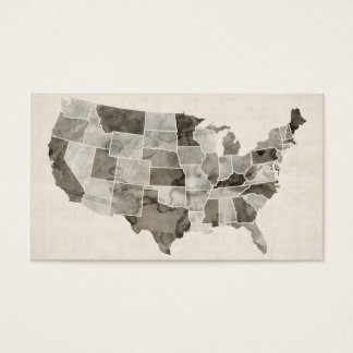 United States Watercolor Map Business Card