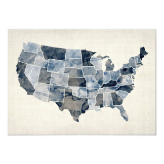 United States Watercolor Map Card