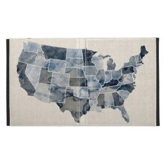 United States Watercolor Map iPad Folio Cases