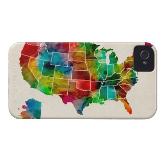 United States Watercolor Map iPhone 4 Case-Mate Case