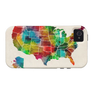 United States Watercolor Map Case-Mate iPhone 4 Covers