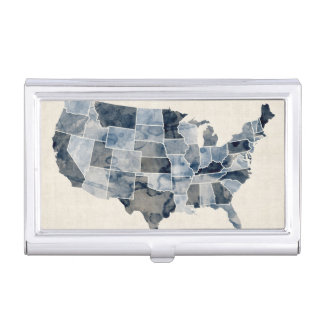 United States Watercolor Map Case For Business Cards