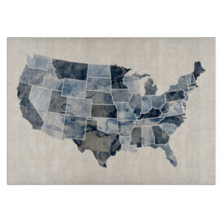 United States Watercolor Map Cutting Board