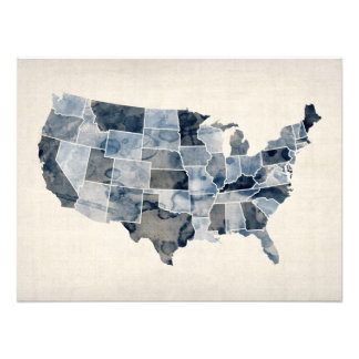 United States Watercolor Map Photo Print