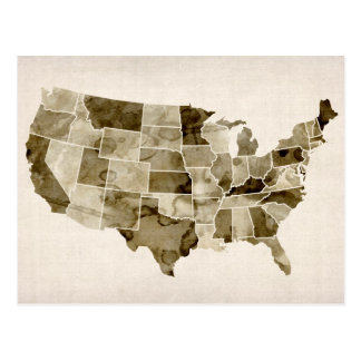 United States Watercolor Map Postcard