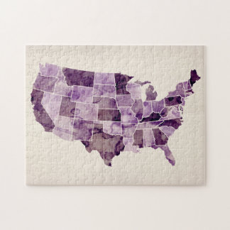 United States Watercolor Map Puzzle