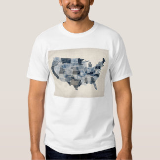 United States Watercolor Map Tee Shirt