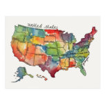 United States Watercolor Postcard