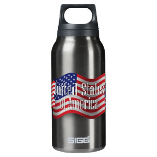 United States Waving Flag Insulated Water Bottle