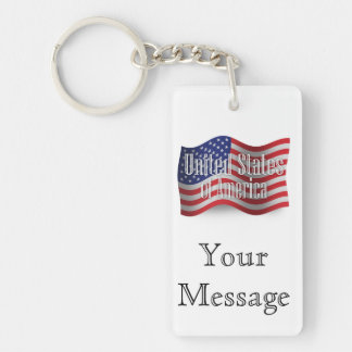 United States Waving Flag Key Chain