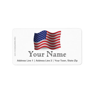 United States Waving Flag Label