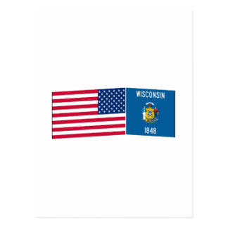 United States & Wisconsin Flags Postcard