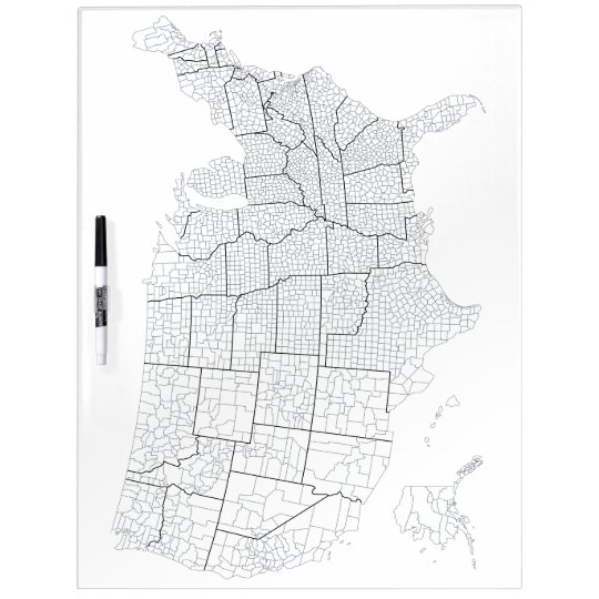 United States with Counties Blank Outline Map Dry Erase Board
