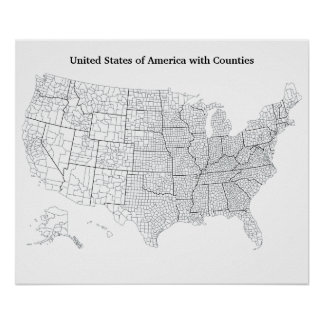 United States with Counties Blank Outline Map Poster