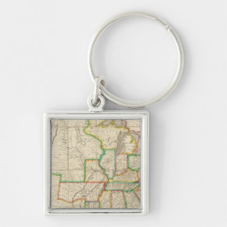 United States with the Contiguous British Silver-Colored Square Keychain