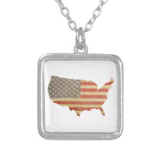 United States Worn Flag & Country Necklace