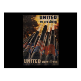 United We Are Strong United We Will Win Postcard