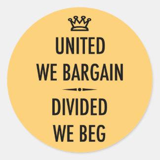 United We Bargain Classic Round Sticker