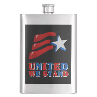 United We Stand American Flag Flask