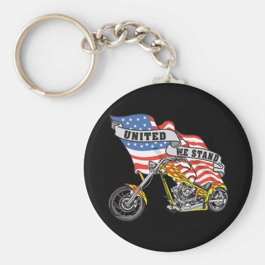 United We Stand Biker Keychain
