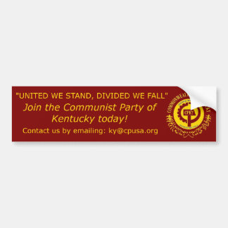 """United we stand, Divided we fall"" Bumper Sticker"