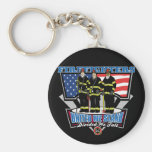 United We Stand Firefighters Basic Round Button Keychain