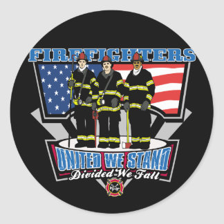 United We Stand Firefighters Classic Round Sticker