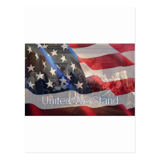 United We Stand Flag with Founding Fathers Postcard