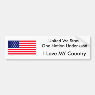 United We Stand One Nation Under God Bumper Sticker