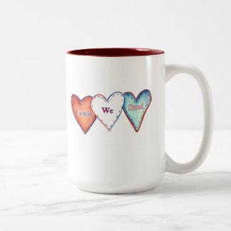 United We Stand Patriotic Hearts Two-Tone Coffee Mug