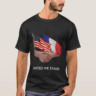 United We Stand USA & France Men's Dark T-Shirt
