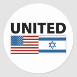 United with Israel Classic Round Sticker