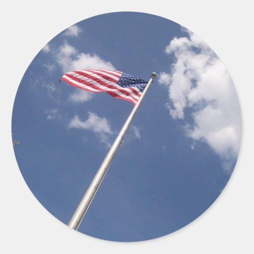 Unites States America Flag Blue Sky Clouds Stickers