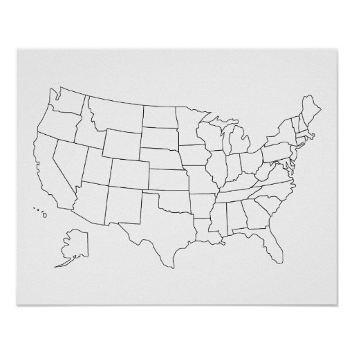 Unites States map outline poster