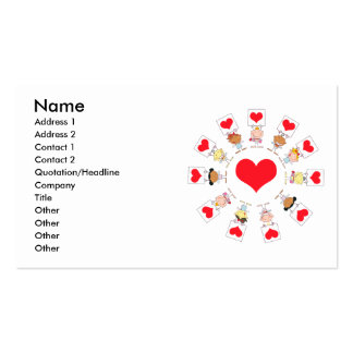 unity and love cartoon kids Double-Sided standard business cards (Pack of 100)