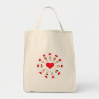 unity and love cartoon kids grocery tote bag