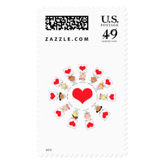 unity and love cartoon kids postage stamp