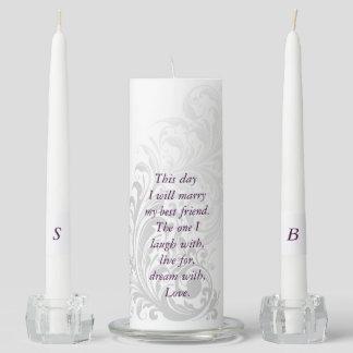 Unity Candle Elegant Swirl - Silver