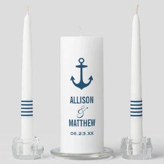 Unity Candle Set | Navy Nautical Stripes