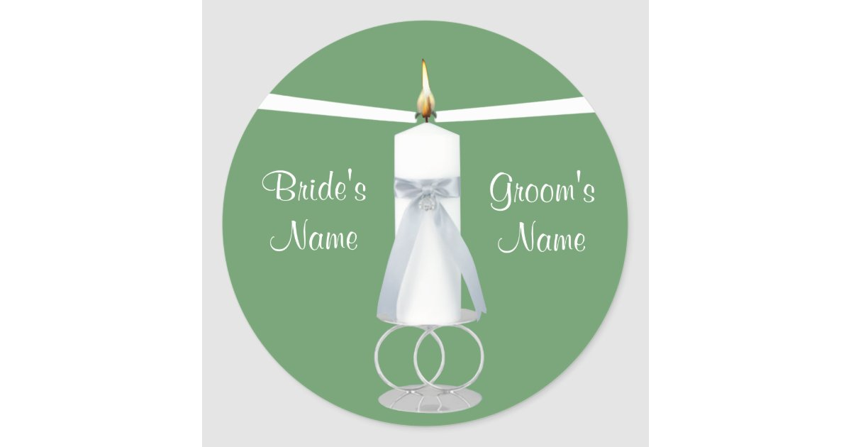 Candlelight Wedding Invitations: Unity Candle Wedding Invitation Sticker