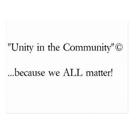 """Unity in the Community""© gear (Basic design) Postcard"