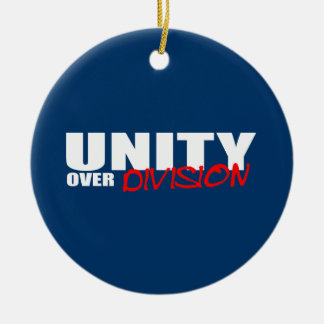 UNITY OVER DIVISION Double-Sided CERAMIC ROUND CHRISTMAS ORNAMENT