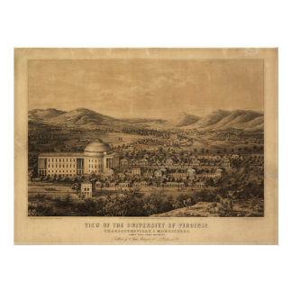 Univ of Virginia 1856 Antique Panoramic Map Poster