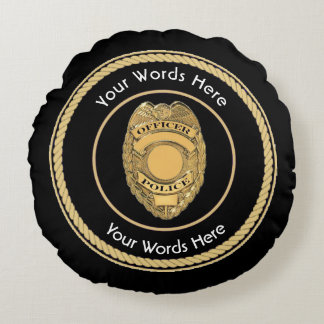 Universal de la insignia del oficial de policía cojín redondo