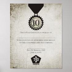 Universal Employee Anniversary Award Certificate Poster at Zazzle