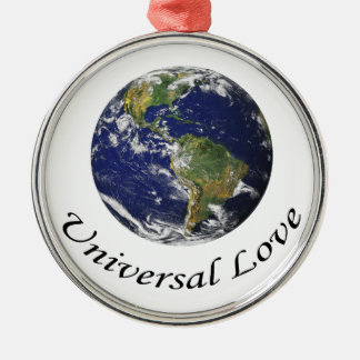 Universal Love on Earth Metal Ornament