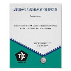 Universal Medal Employee Anniversary Certificate Poster at Zazzle