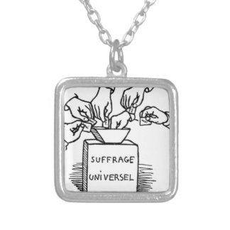 Universal suffrage by Felix Vallotton Square Pendant Necklace