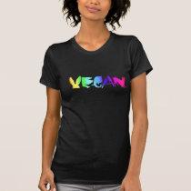 UNIVERSAL VEGAN SYMBOL RAINBOW ON WOMEN'S BLK LONG T-Shirt