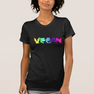 UNIVERSAL VEGAN SYMBOL RAINBOW ON WOMEN'S BLK LONG T-Shirt